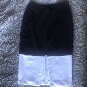 New Black and White Pencil Skirt with center slit